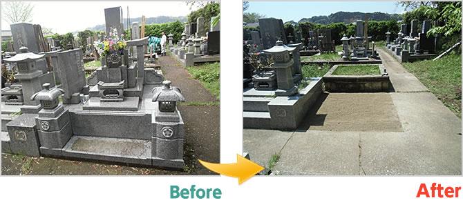 墓所撤去工事